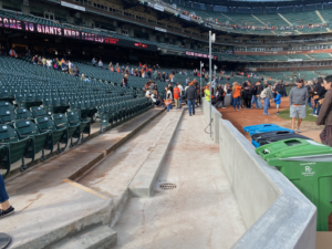 The new luxury box down the right field line under construction at Oracle Park on February 8th, 2020, on view at FanFest. Photo by Kevin J. Cunningham