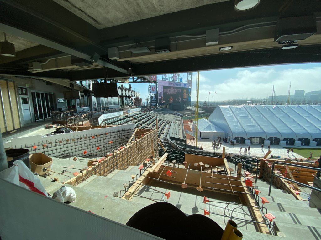 View of the renovations occurring on the Club Level of Oracle Park on February 8th, 2020, at FanFest.  Photo by Kevin J. Cunningham